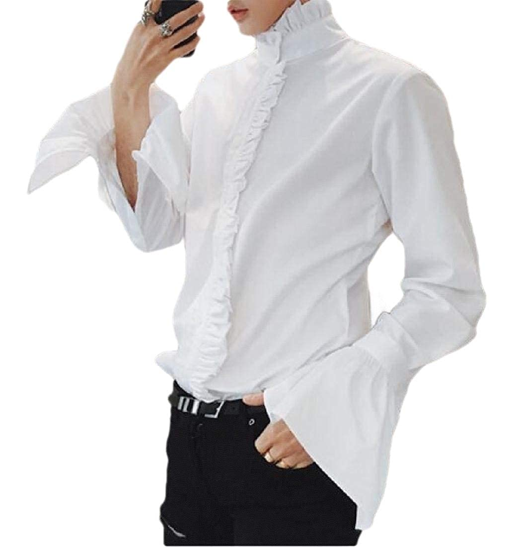 RRINSINS Mens Ruffled Shirts Steampunk Solid Color Frill Dinner Tuxedo Shirts
