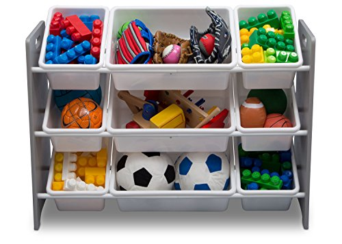 51ofiD5C6kL - Delta Children MySize 9 Bin Plastic Toy Organizer, Grey