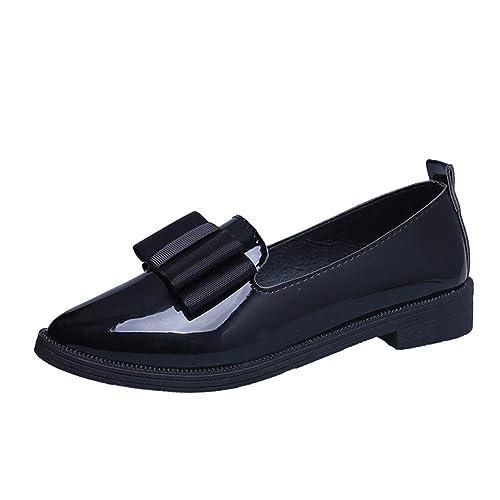 Cuero Mocasines Mujeres Zapatos Casuales señaló Toe Oxford Mujer Deslizamiento de Las Mujeres en Pisos clásicos Mocasines: Amazon.es: Zapatos y complementos