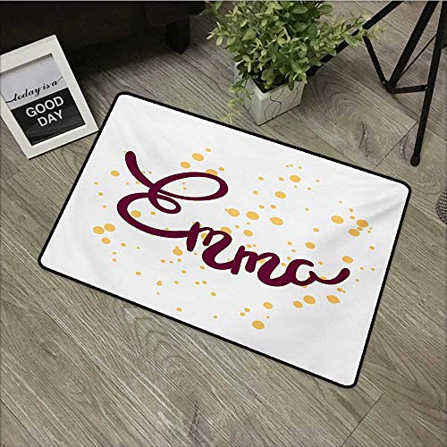 (Outdoor Door mat W16 x L24 INCH Emma,Feminine Letters Arrangement Handwritten Newborn Girl Name Curves and Swirls,Purple and Mustard Natural dye Printing to Protect Your Baby's Skin Non-Slip Door Mat)