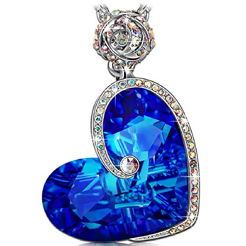 Large Product Image of J.NINA Heart Necklaces for women Sapphire Pendant Blue Swarovski Crystals Rose Flower Jewelry for women Back to School Anniversary Birthday Gifts for Daughter Lover Niece Wife Girlfriend Sister Friend