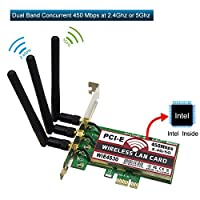Wireless PCI-E Express Card/WiFi Network Adapter Card (2.4GHz 450Mbps or 5GHz 450Mbps) with 3PCS Antenna for Windows 7/8/10