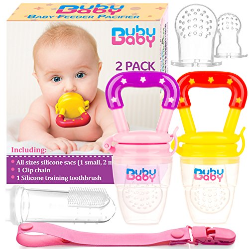 Bububaby Baby Feeder Toys with Pacifier Clip Holder/ Silicone Feeding Teether for Fresh and Frozen Fruit or Food, Training Finger Toothbrush and 2 Extra Teats, 2 Pack (Pinky Purple & (Frozen Finger Food)