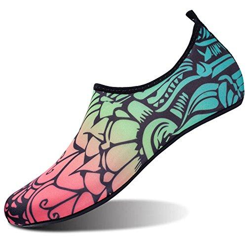 para de Negra L Beach de descalza Unisex Zapatos Yoga Piel Dive Flor Zapatos Run Run Surf Agua Swim zEBpgq