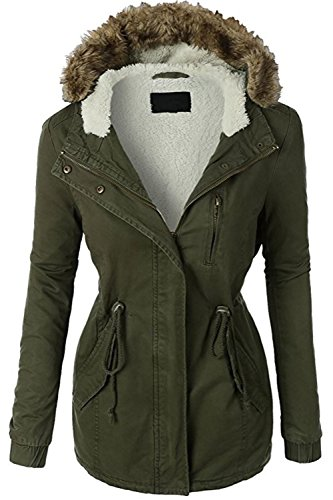FASHION BOOMY Women Zip Up Military Anorak Jacket W/Pockets (Large, Green)