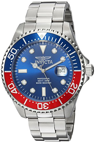 Invicta Men's Pro Diver Quartz Diving Watch with Stainless-Steel Strap, Silver, 22 (Model: - Pro Blue Watch