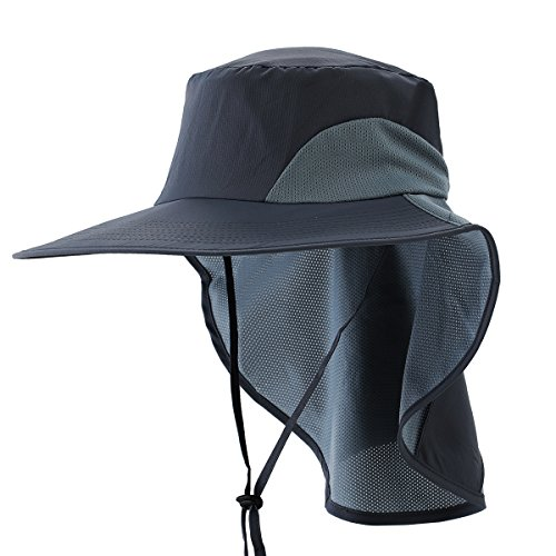 (Ksenia Unisex Wide Brim Outdoor Activities UV Protecting Fishing Cap Sun Hats with Neck Flap)