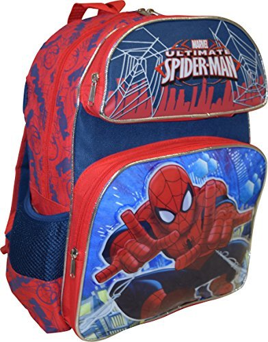 "Marvel Spiderman Skyscraper Deluxe 3D Embossed 14"" School Backpack"