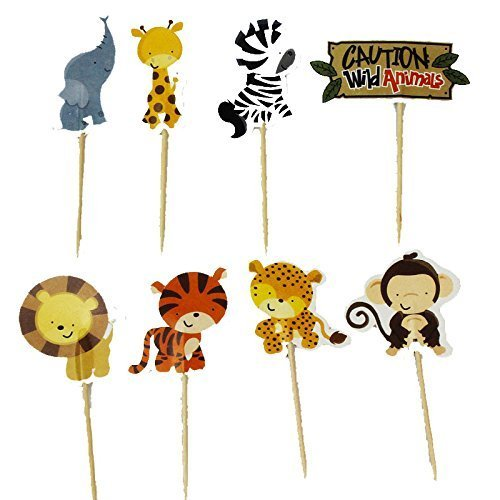 Jungle Animal Cupcakes - Bilipala 24 Count Zoo Animal Cupcake Toppers Picks, Puffy Picks, Cake & Party Decoration