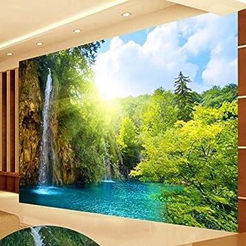 Papel Tapiz Mural 3d Cascada Paisaje Lago Foto Papel Tapiz Para Sala