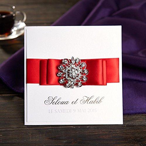 50pcs Diamante, color blanco invitaciones de boda con lazo libre ...