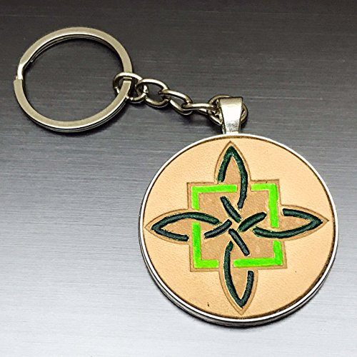 [Hand-Painted Green Square Celtic Cross Embossed Leather Keychain] (Camper Gothic Costumes)