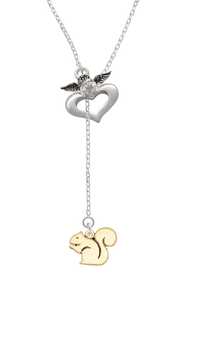 Goldtone Squirrel - Guardian Angel Lariat Necklace, 18''+2''