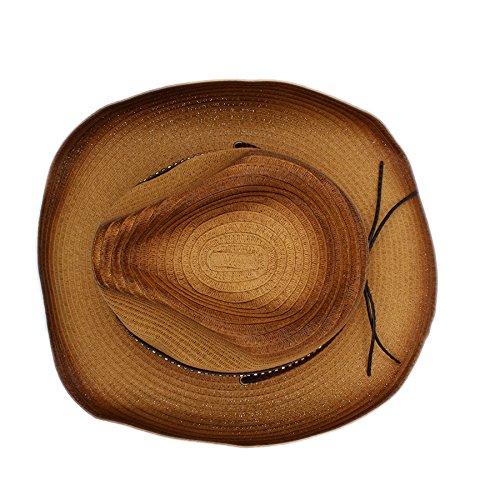 Battle Gorra   Men Sombrero de vaquero cinturones occidental de paja para  hombres Sombrero de sol para mujer Gorra de vaquera con decoración de  cinturones ... 95e63cd8954f