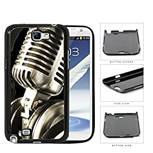 Classic Vintage Microphone And Headphones Hard Plastic Snap On Cell Phone Case Samsung Galaxy Note 2 II N7100
