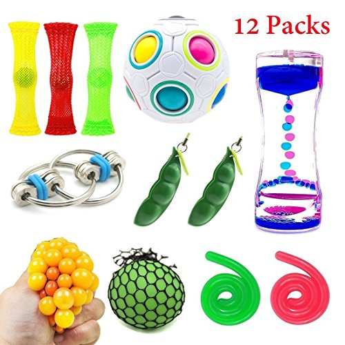 Grape Toy - SpringFly 030 12 Pack Bundle Sensory Fidget Cube/Bike Chain/Liquid Motion Timer/Rainbow Magic Ball/Mesh and Marble Toy/Soybeans Squeeze Grape