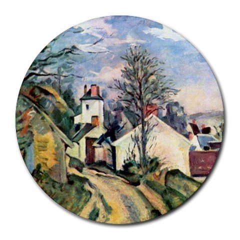 House of Dr. Gachet by Paul Cezanne Round Mouse (Doctor Gachets House)