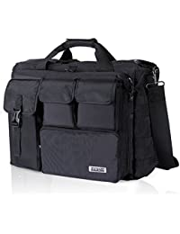 "17"" Men's Military Laptop Messenger Bag Multifunction Tactical Briefcase Computer Shoulder Handbags, Black (Fit up to 16"" Laptop)"