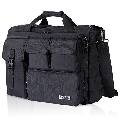 Lifewit 17' Men's Military Laptop Messenger Bag Multifunction Tactical Briefcase Computer Shoulder Handbags, Black (Fit up to 16' Laptop)