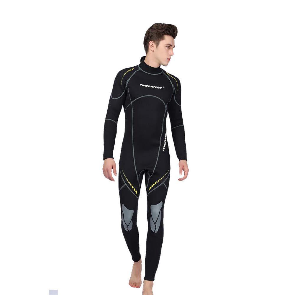 FL Bygo Costume de plongée pour Hommes Néoprène Retour Zipper Warm Maillots De Bain 3 MM Couleur Unie Warmth Surf VêteHommests,XL
