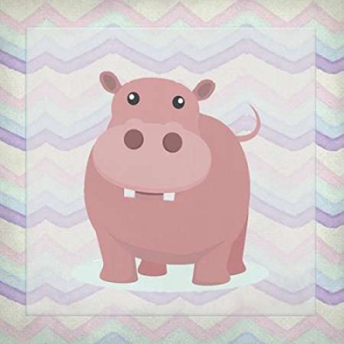 24 x 24 Pink Hippo Time Poster Print by Kimberly Allen