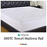 Allrange 300TC Cool Tencel Hypoallergenic Quilted Mattress Pad, Stretch-up-to 22'', Fitted Tencel Polyester Fill, Silky Cotton Tencel Cover,OEKO-TEX Certified, CK