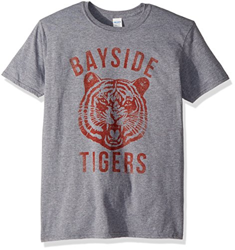 American Classics Unisex Saved by The Bell Bayside Tigers Adult Short Sleeve T-Shirt, Graphite Heather, Large