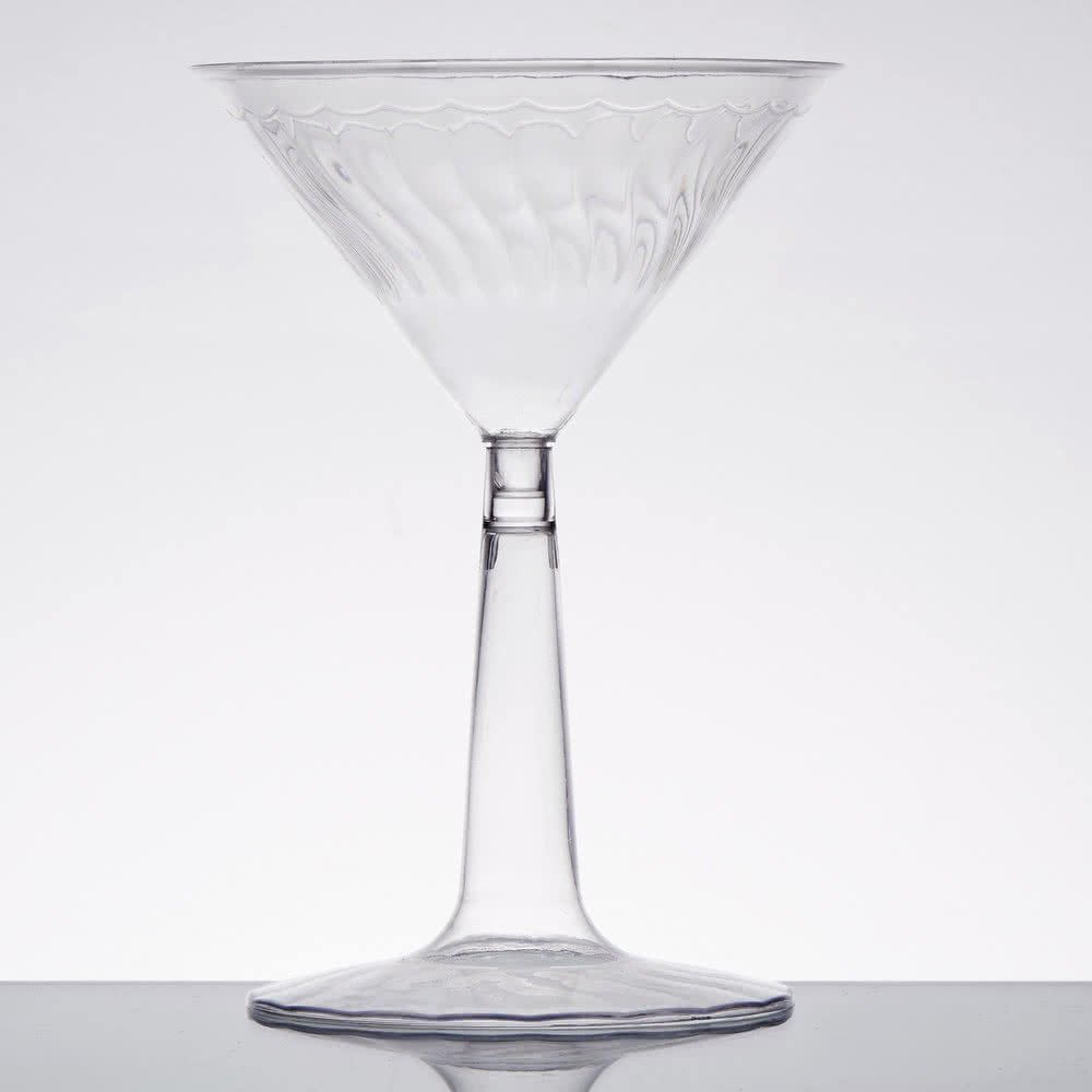 12 Pack of Elegant Heavy-Duty Reusable Plastic Martini Glasses / Premium Plastic Cocktail Glasses - Clear - 6oz (170ml) for Weddings Catered Events Parties Pubs Bars & Restaurants Fineline