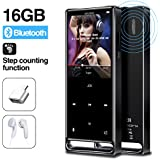 MYMAHDI MP3 Player, Bluetooth 16GB Lossless,FM Radio/Footstep/Records by one Key, Max up to 128GB, Black