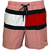 Tommy Hilfiger Men's New Ithaca Stripe Flag Swim Shorts, Red Small Red/White