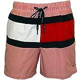 Tommy Hilfiger Men's New Ithaca Stripe Flag Swim Shorts, Red Medium Red/White
