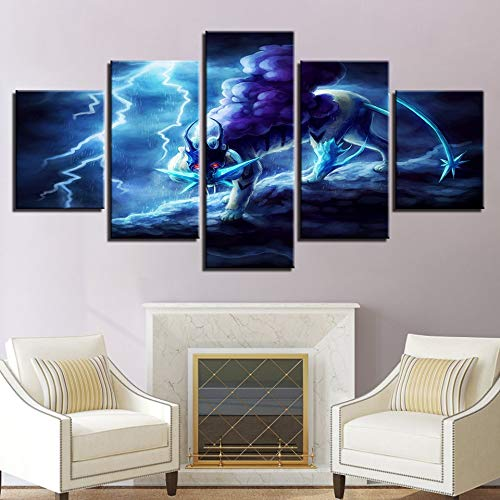 - Kkxdp Frameless Hd Prints Posters Framework Living Room Decor 5 Pieces Lightning Tiger Canvas Paintings Cartoon Anime Pictures Modular Wall Art-A