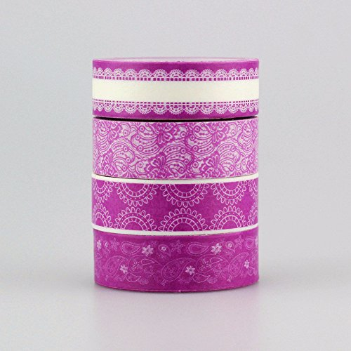 4pcs/lot Decorative Cute Purple Color Patterned Tape Set,15mm10m,Scrapbooking
