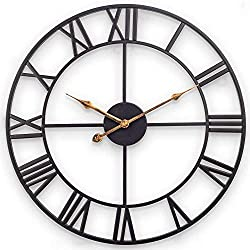 Wall Clock Retro Chic Digital, Ultra-Quiet Non-Ticking Wrought Iron Art Clock, 20-inch Round Easy-to-Read Wall Decoration