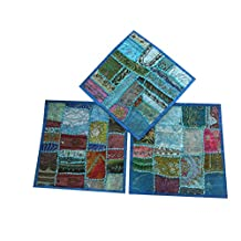 Mogul Blue Pillow Sham Embroidered Patchwork Set Of 3 Throw Cushion Covers