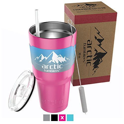 Arctic Tumblers 20 oz Cup Matte Pink Powder Coat with Straw - Stainless Steel Coffee Mug - Camping -