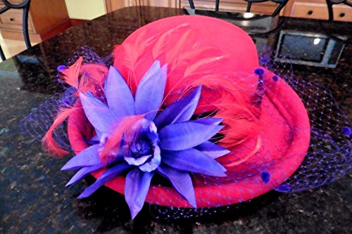 Scala Red Hat 100% Wool with Purple Trim Flower & Feathers Official Handmade (Wool Hat Feather Trim Red)