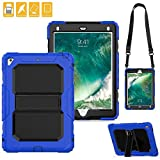 New iPad Case, FITVERS Three Layer Heavy Duty Hard Bumper Case Kickstand Shoulder Strap Drop Proof Protective Case for New iPad 2017 9.7 inch / iPad Air 2 / iPad Pro 9.7 + STYLUS - (Blue/Black)