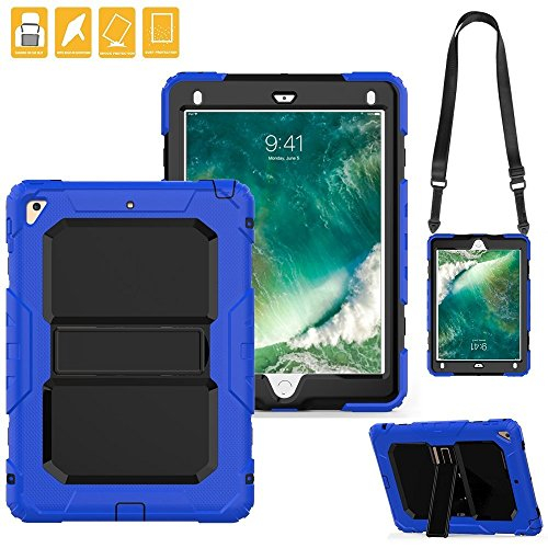 New iPad Case, FITVERS Three Layer Heavy Duty Hard Bumper Case Kickstand Shoulder Strap Drop Proof Protective Case for New iPad 2017 9.7 inch / iPad Air 2 / iPad Pro 9.7 + STYLUS - (Blue/Black) by FITVERS