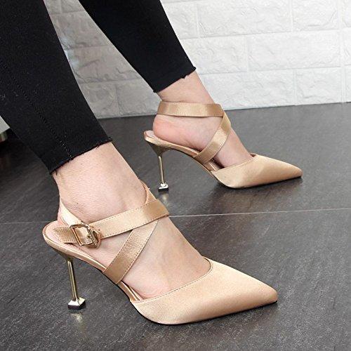 Xue Qiqi Hochhackige Sandalen Damen Schuhe 2017 2017 2017 mit feiner Spitze cross strap Baotou Seide Satin Sandalen a4a36e