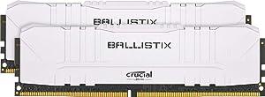 Crucial Ballistix 3200 MHz DDR4 DRAM Desktop Gaming Memory Kit 16GB (8GBx2) CL16 BL2K8G32C16U4W (White)