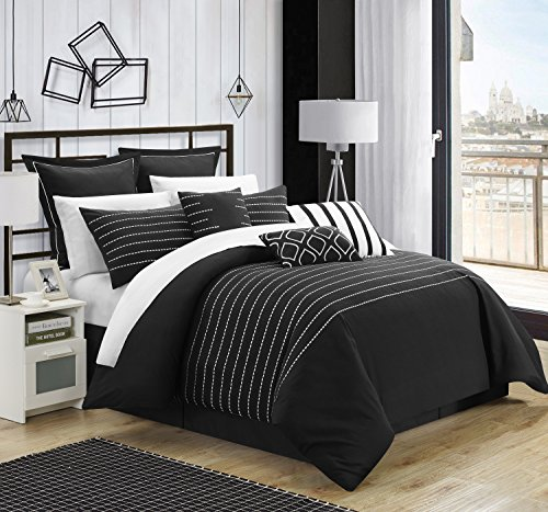 Chic Home 9 Piece Brenton Super Rich Microfiber Stitch Embroidered Comforter, King, Black