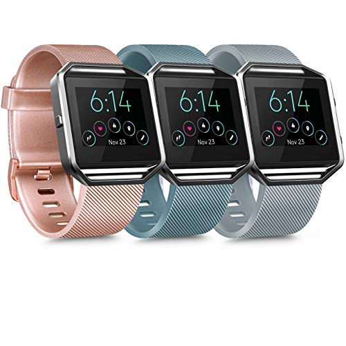 [3 Pack] Silicone Bands Compatible with Fitbit Blaze Bands for Women Men, Replacement Sport Wristband for Fitbit Blaze…