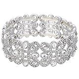 EVER FAITH Women's Crystal Elegant Wedding Knot Tear Drop Elastic Stretch Bracelet Clear Silver-Tone