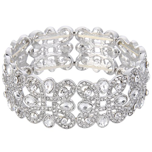 EVER FAITH Women's Crystal Elegant Wedding Knot Tear Drop Elastic Stretch Bracelet Clear Silver-Tone