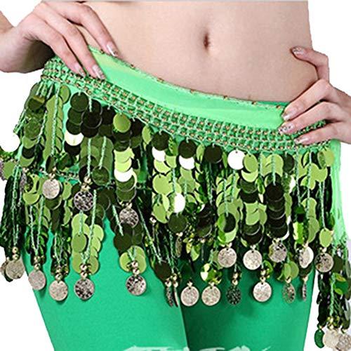 Rowentauk Belly Dance Sequin Belt Womens Belly Dancer Costume Hip Scarf Wrap Belt 58 Coin Chiffon Skirt