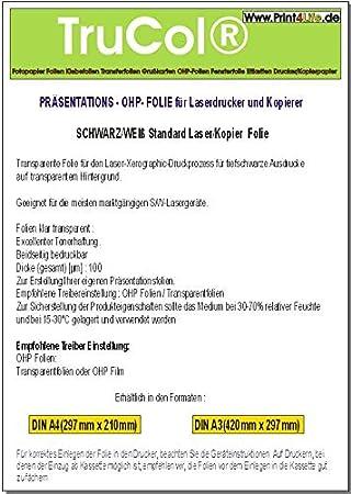 100 hojas LASER A3 estándar universal OHP (retroproyector ...