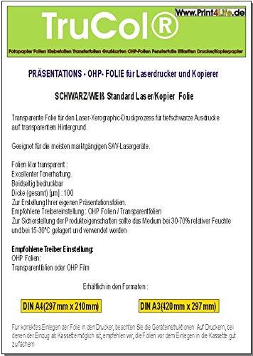 100 hojas A4 universal OHP (transparencia de proyección ...