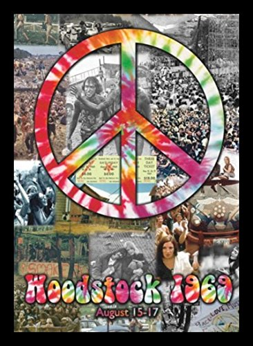 Black Framed Woodstock & Peace Sign Collage 20X16 Art Print