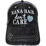 Embroidered Nana Hair Don't Care Grey Trucker Baseball Cap